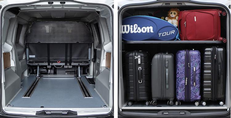 Большое багажное отделение (багажник) в автомобиле пежо эксперт. Разделитель для ручной клади